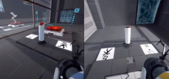 Portal 2 split-screen coop multiplayer screenshot (PS3)