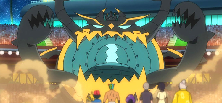 Guzzlord in the anime, battle screen