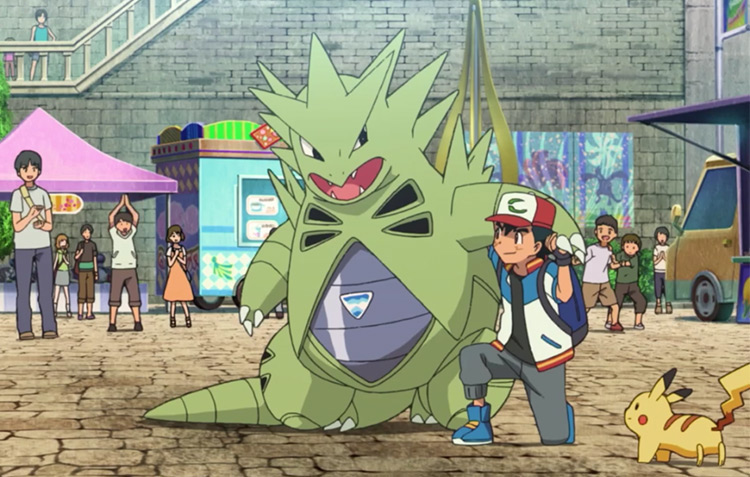 Tyranitar in Pokémon anime screenshot, best dark monster