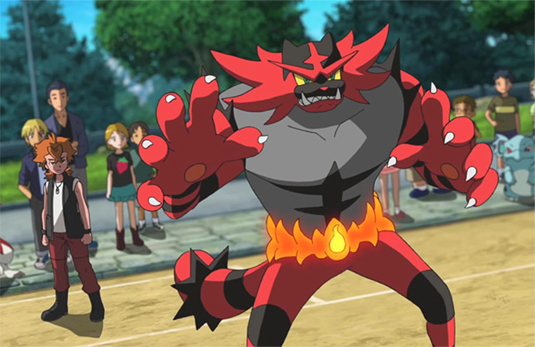 Incineroar in Pokémon anime screenshot