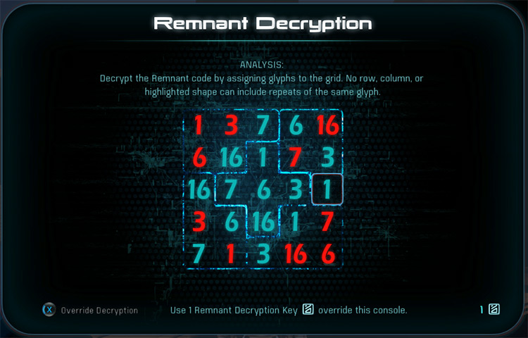 Remnant Sudoku Puzzle Glyphs to Numbers Mass Effect: Andromeda