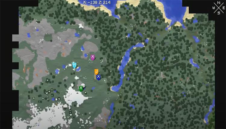 Xaero's Minimap Minecraft game mod