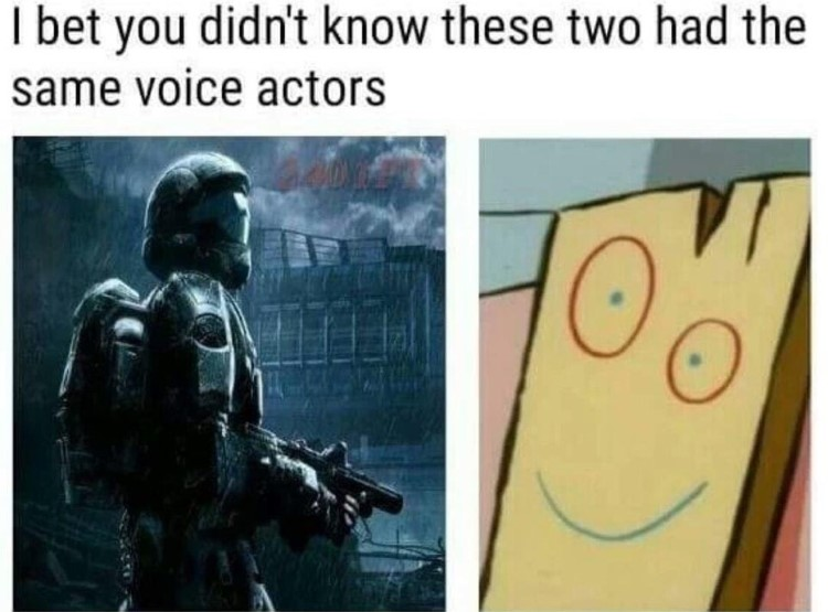 I bet you didnt know these have the same voice actors, Plank and Halo