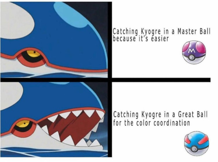 Kyogre in a Masterball vs a Great Ball meme