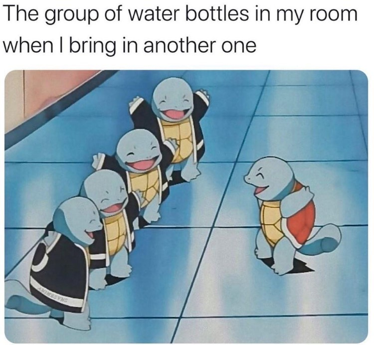 Group of water bottles joining a new one