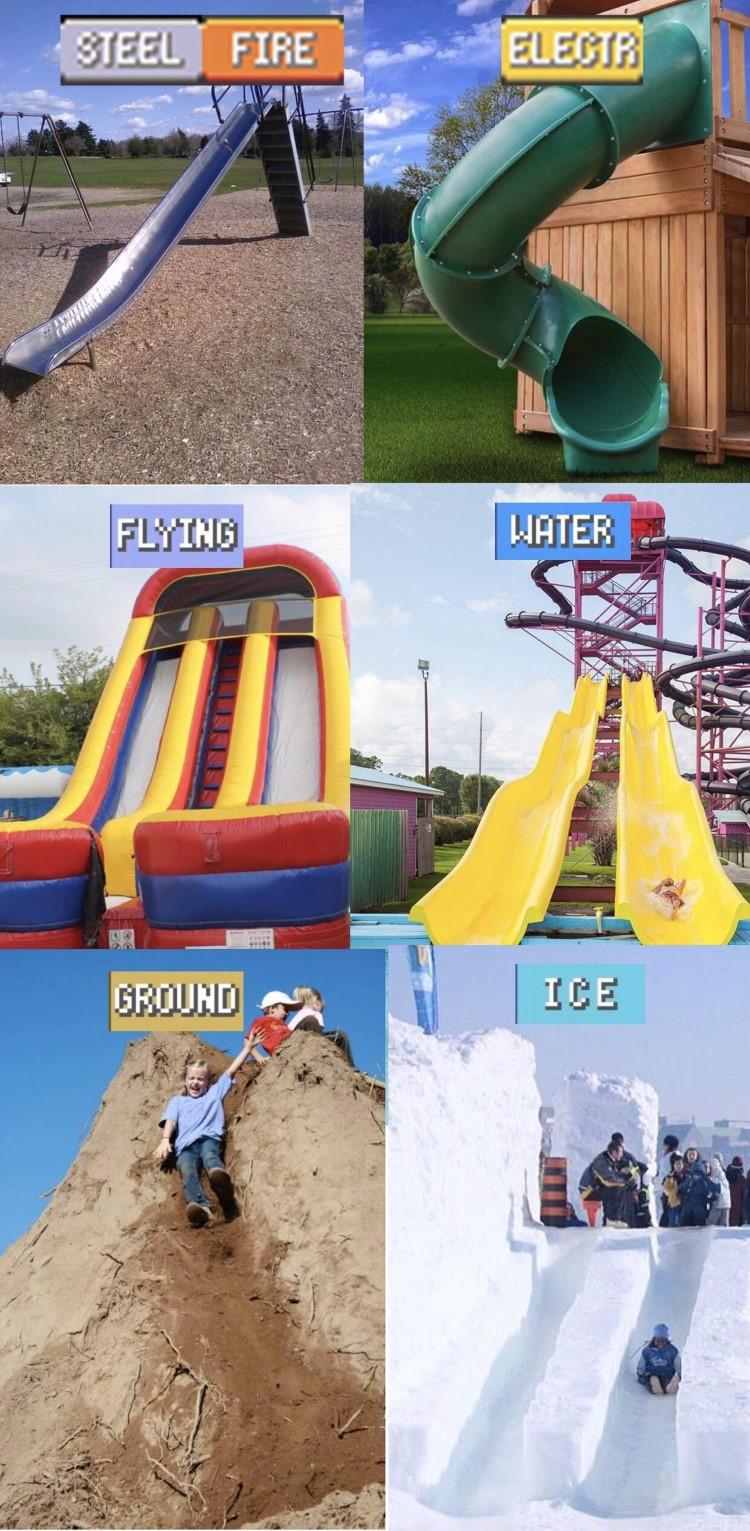 Flying, water ground ice, slides meme