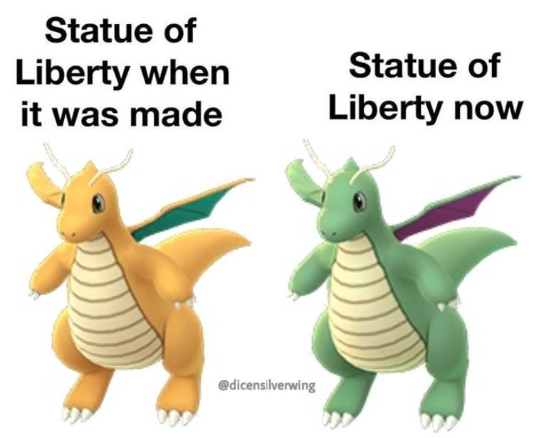 Statue of Liberty then and now, Dragonite meme