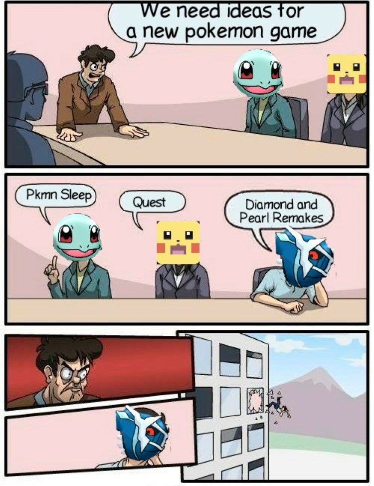 We need ideas for a Pokemon game, thrown out window meme