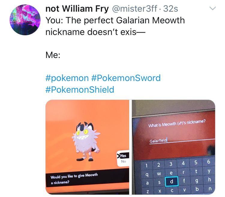 Galarian Meowth nicknamed Galarfield