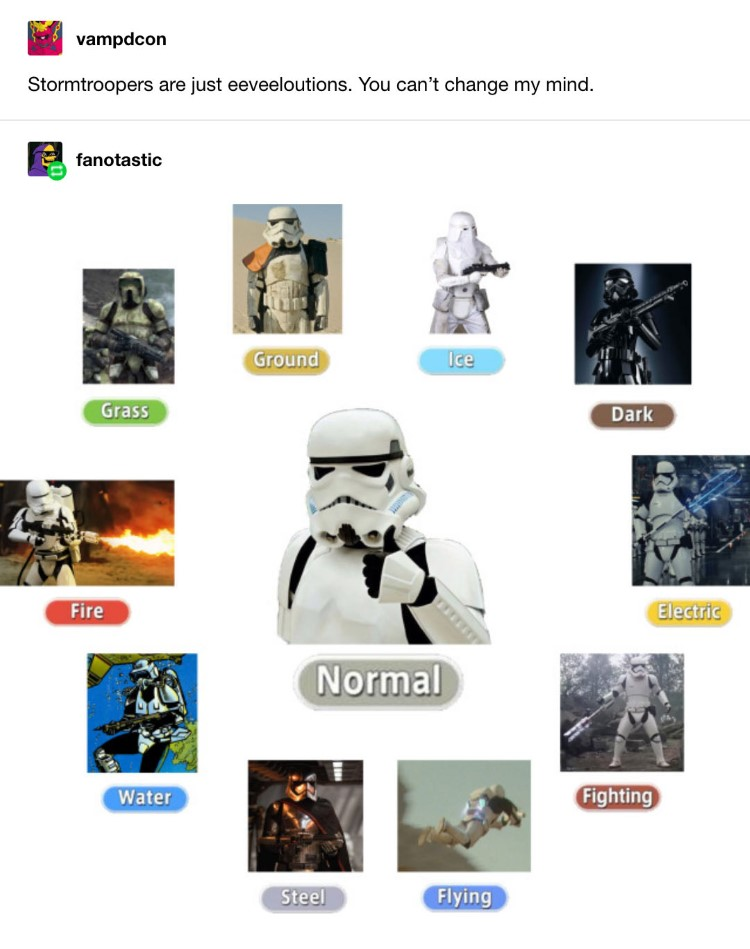 Stormtroopers are just Eeveeloutions meme