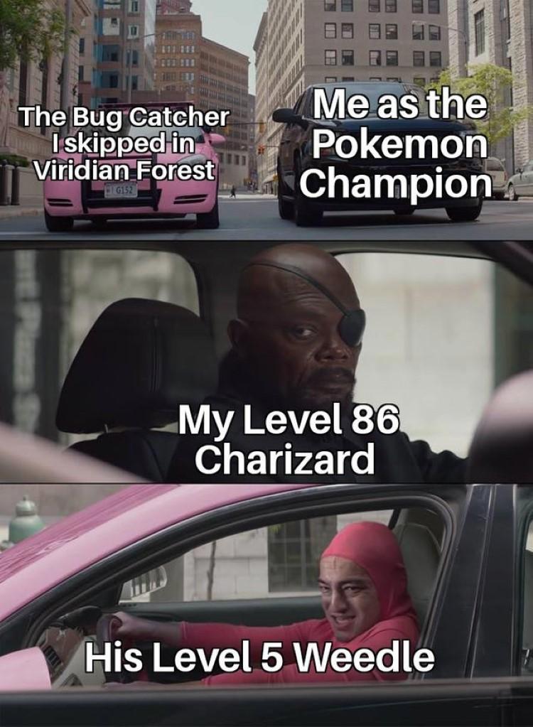 Level 86 Charizard vs Level 5 weedle