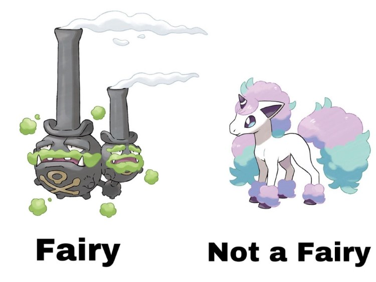Galarian Weezing is a Fairy. Galarian Ponyta is not a fairy. What?
