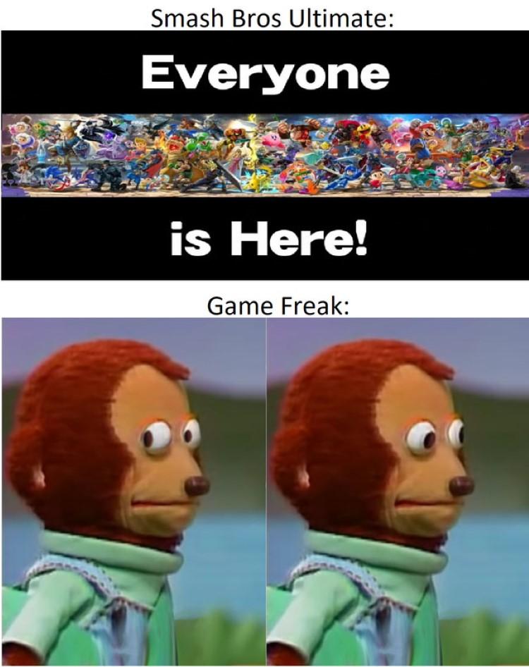 Smash Bros Ultimate, Nervous GameFreak meme