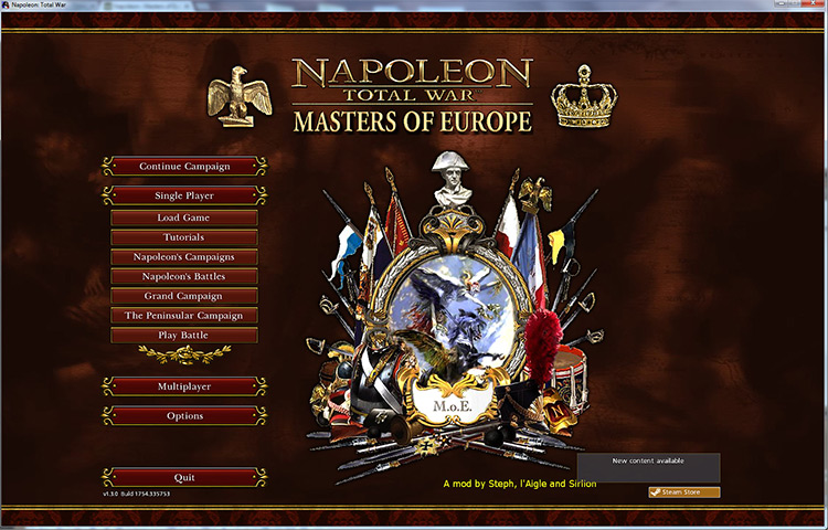 Masters of Europe Napoleon Total War mod
