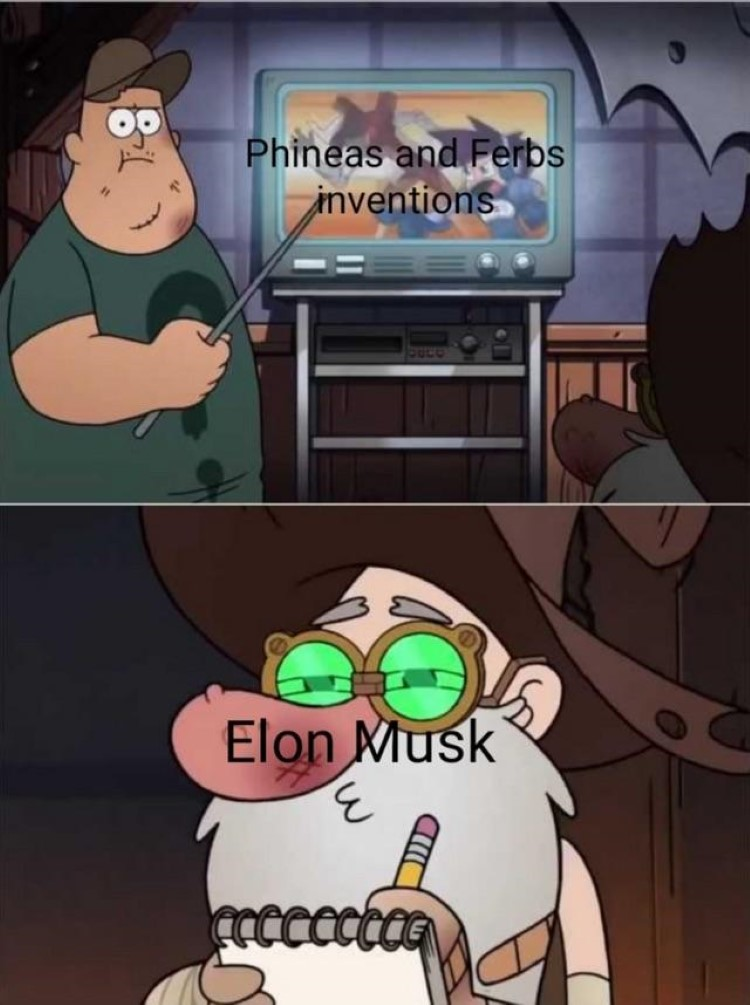 Phineas and Ferb inventions, stolen by Elon Musk, Soos meme