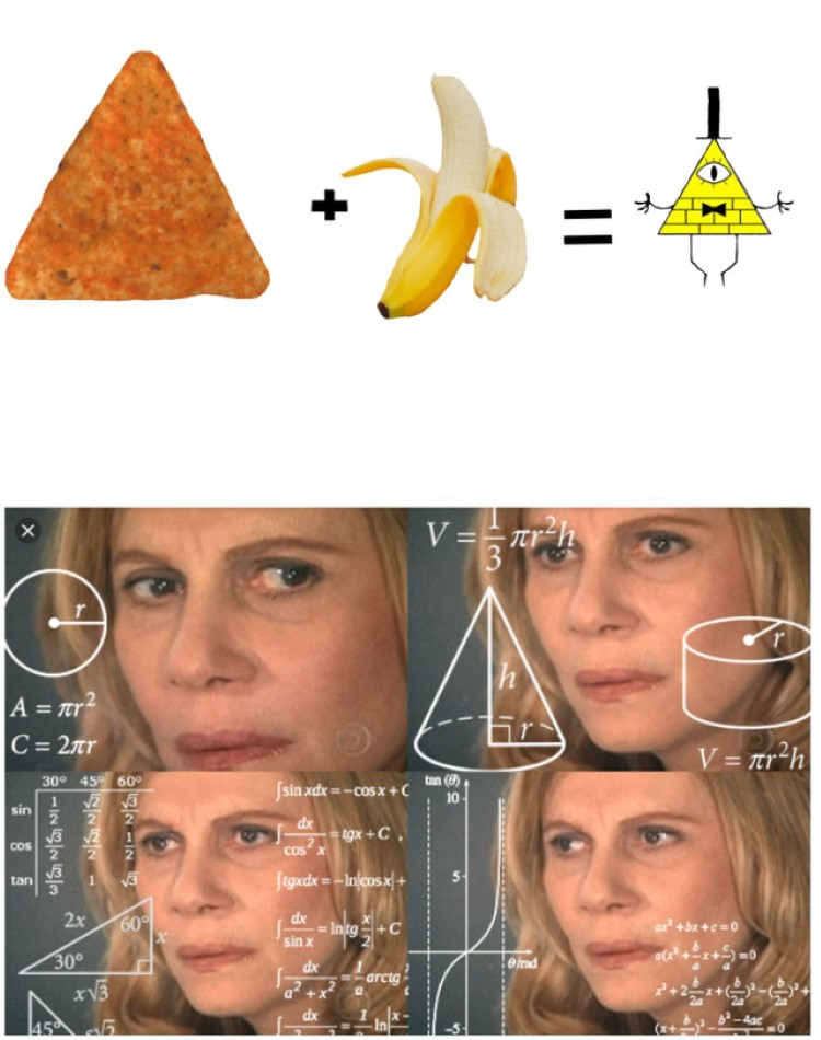 Chip and banana equals Pyramid Gravity Falls