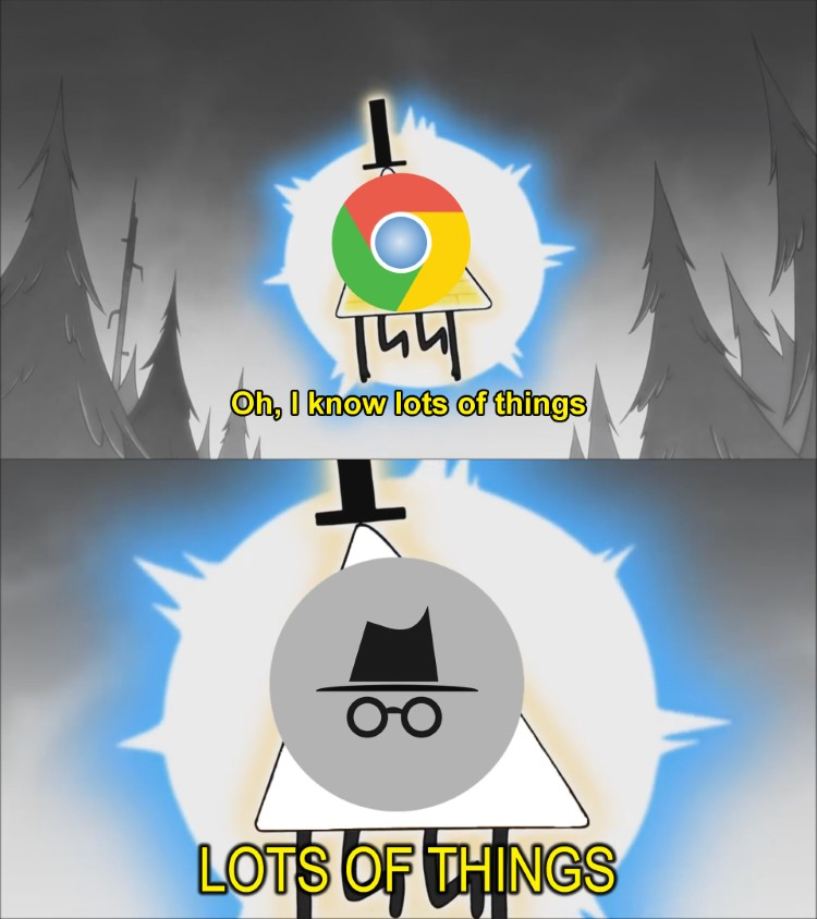 Chrome I know lots of things... Incognito mode knows lots of things
