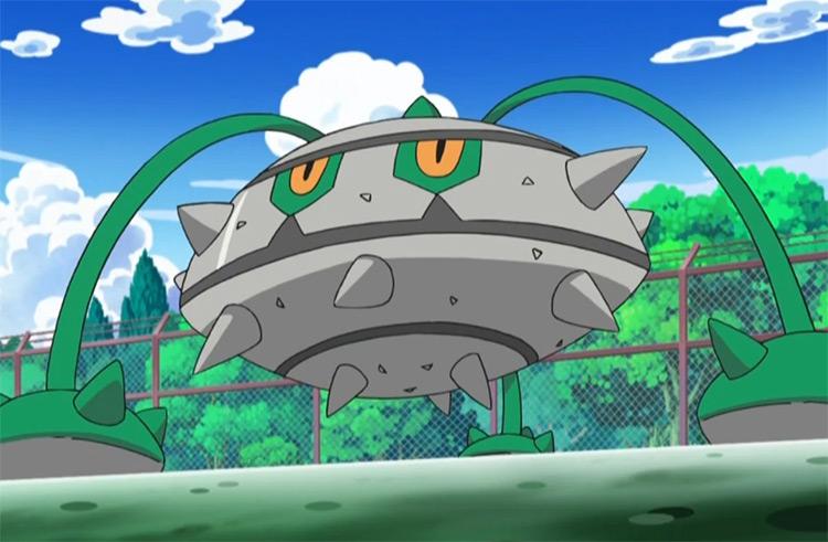Ferrothorn big grey thorned Pokemon - anime screenshot