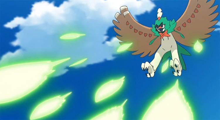 Decidueye flying grass Pokemon - anime screenshot