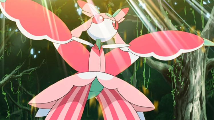 Lurantis pink flying grass insect Pokemon