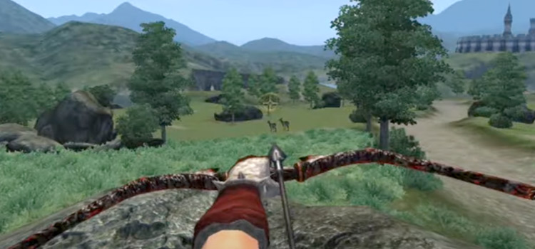 Oblivion - Archer aiming arrow into skyline TES4
