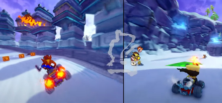 Crash Racing HD PS4 split-screen gameplay