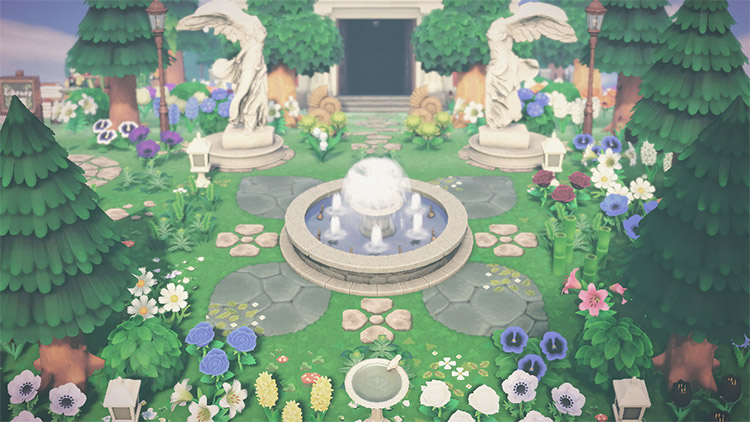 Classic garden with fountain outside museum / ACNH Idea