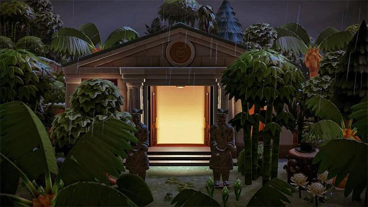 Rainforest design for museum entrance in ACNH