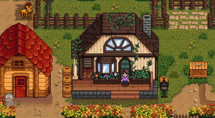 Natural-Toned Birch Buildings / Stardew Valley