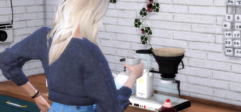 The Sims 4 / Girl holding coffee cup at coffee machine