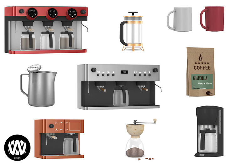 Simple Coffee Makers Set / Sims 4 CC