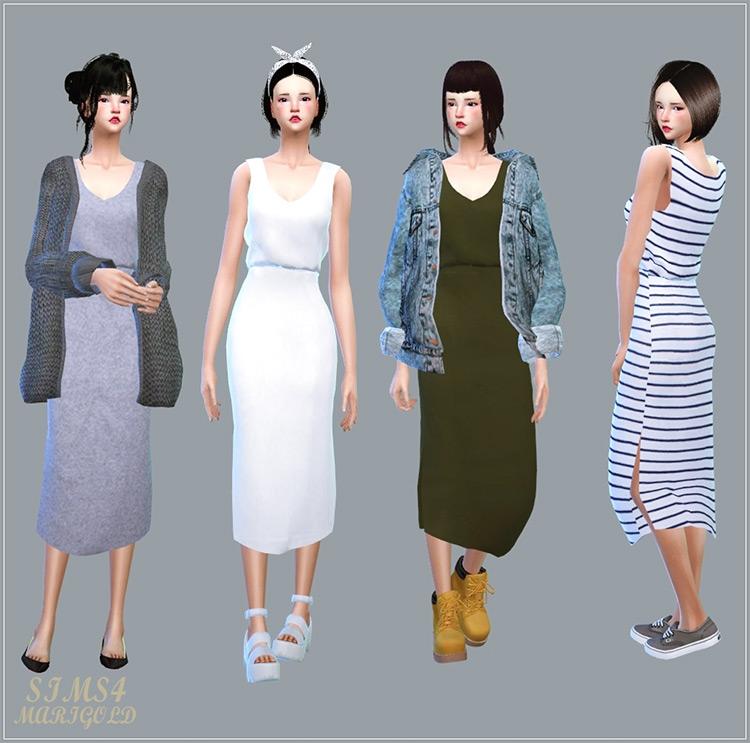 Casual Sleeveless Dress / Sims 4 CC