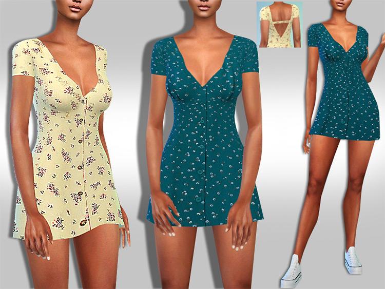Casual Short Sleeve Pattern Dresses / TS4 CC