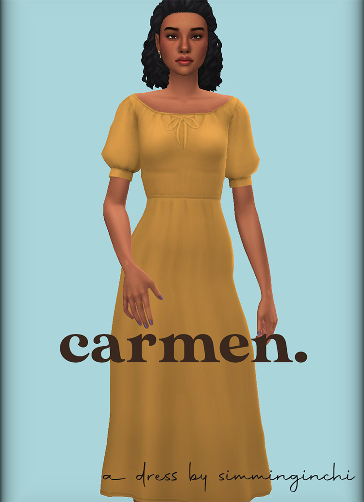 Carmen Dress Preview for The Sims 4