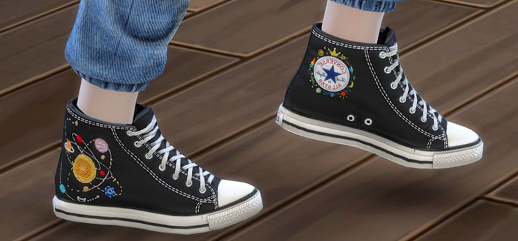 Converse Embroidered Shoes CC for The Sims 4