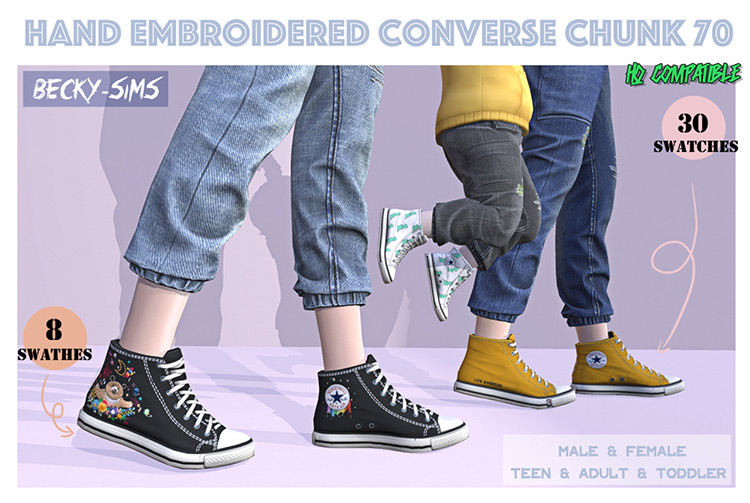 Hand Embroidered Converse / TS4 CC
