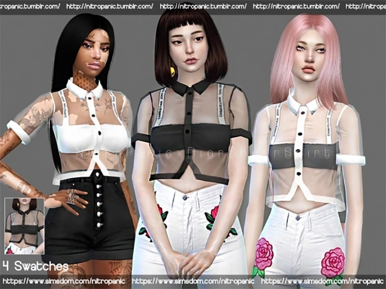 Dior Sheer Shirt / Sims 4 CC