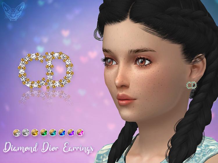 Diamond Dior Stud Earrings For Kids / Sims 4 CC
