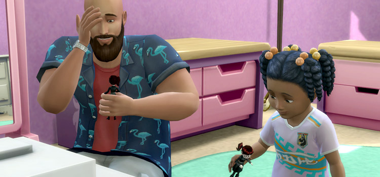 Dad playing with daughter in The Sims 4