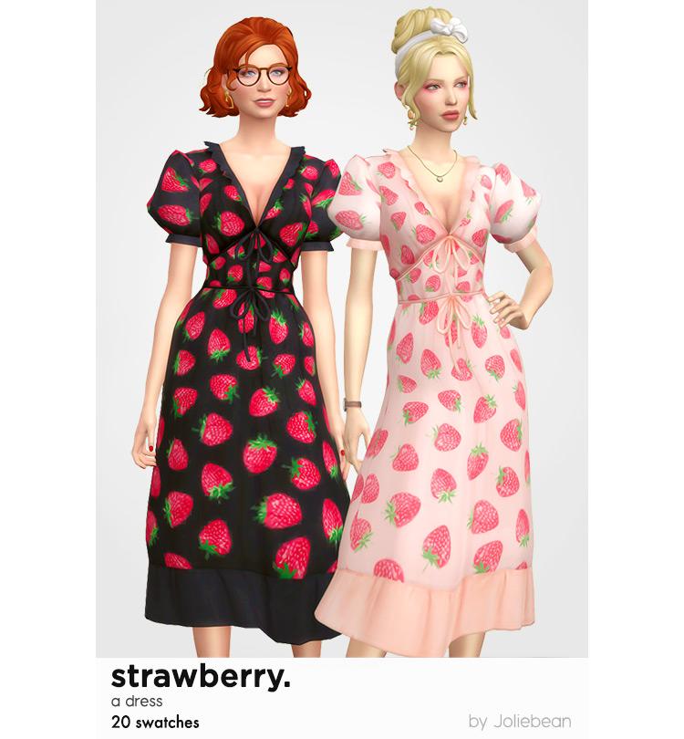 Strawberry Dress Dark + Light / Sims 4 CC