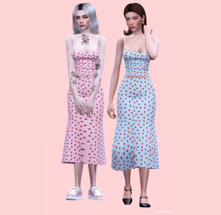 Strawberry Outfit Design / TS4 CC