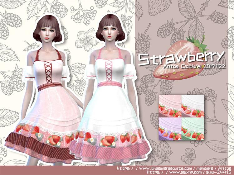 Artlos' Strawberry Dress Design for Sims 4