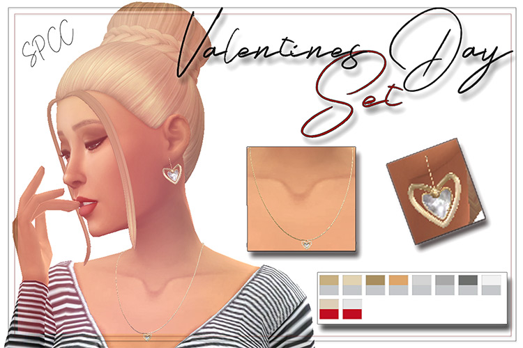 Valentine's Day Jewelry Set for The Sims 4
