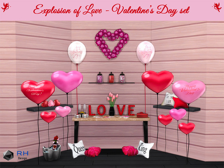 Explosion of Love Valentine's Day Set / Sims 4 CC