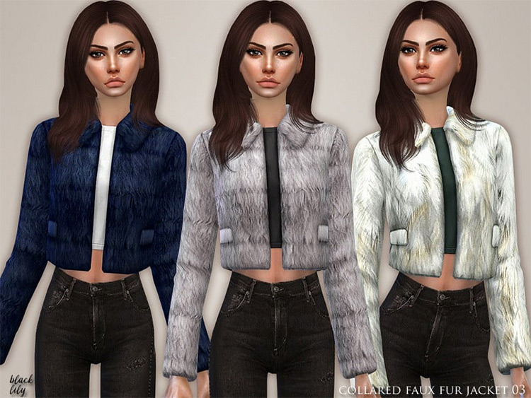 Collared Faux Fur Jacket for The Sims 4