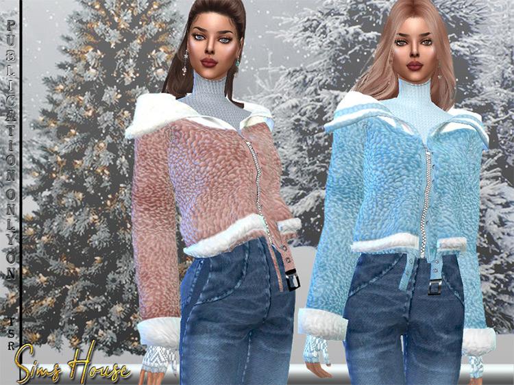 Women's Short Faux Fur Coat / Sims 4 CC
