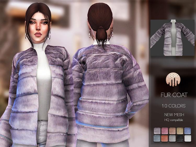 Purple Fur Coat Fuzzy Design / TS4 CC