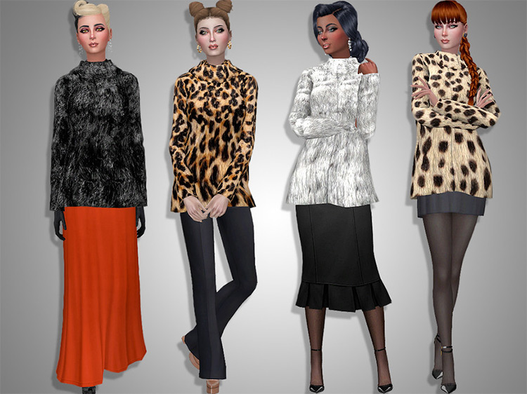 Faux Fur Jacket CC for The Sims 4