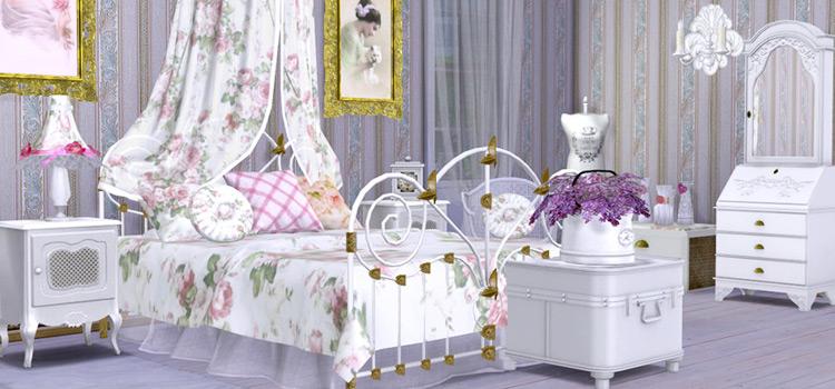 White Shabby Chic Bedroom Design / Sims 4 CC