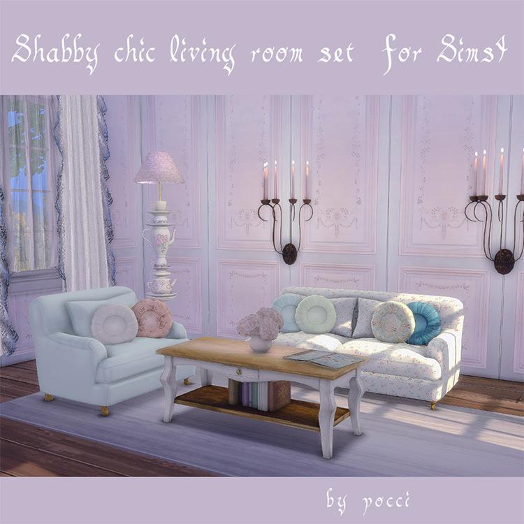 Shabby Chic Living Room Set / TS4 CC